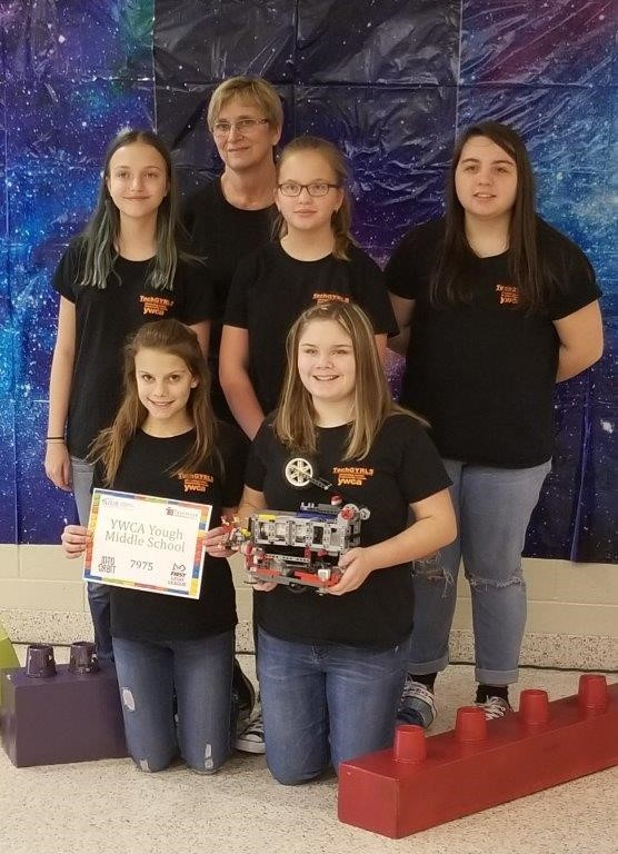 "Congratulations to our YWCA Yough Middle School TechGYRLS for taking First Place in Mechanical Design in the FIRST LEGO® League 2018 ""Into Orbit"" Challenge at Altoona Area Junior High"